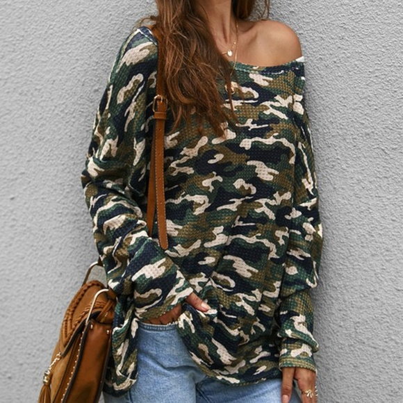 c + d + m collection Tops - Camo Army Print Long Sleeve Top